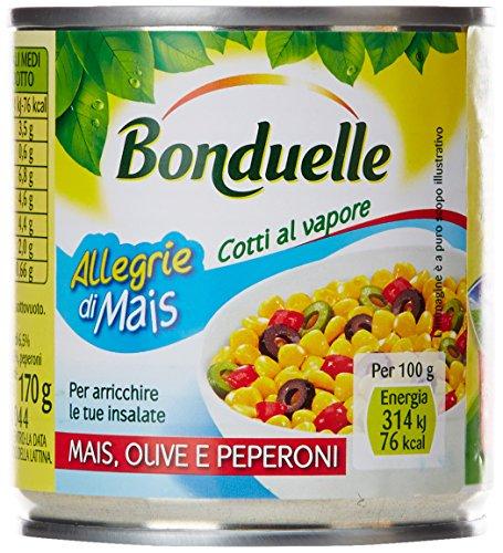 Bonduelle - Mais, Olive E Peperoni, Per Arricchire Le Tue Insalate - 8 confezioni da 3 pezzi da 170 g [24 pezzi, 4080 g]
