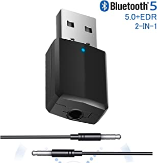 Upgraded USB Transmitter Receiver 2-in-1, Mini Bluetooth V5.0+EDR Adapter for TV PC Headphones Car Home Stereo, Wireless Audio Adapter with 3.5mm AUX, USB Power Supply/No Driver Required