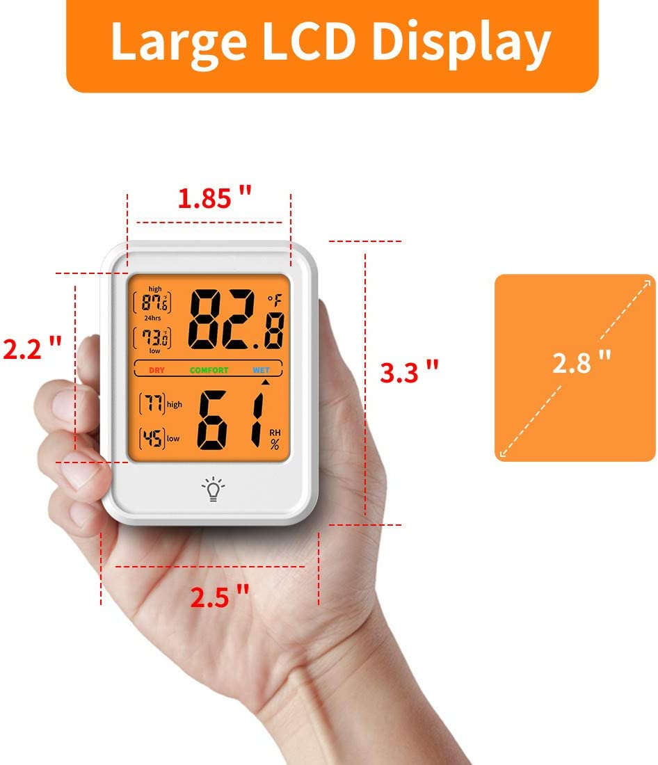 White KJTEMOP Digital Hygrometer Indoor Thermometer Accurate Temperature Monitor Meter Humidity Gauge with Backlight for Home Office Greenhouse