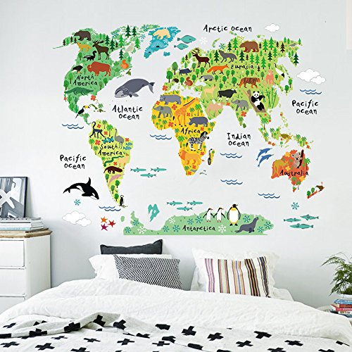 Adeeing Animal World Map Waterproof Removable Mural DIY Door Wall Stickers Decal Art Decor and Wall Treatments Stickers for Classroom Home Girls Kids Living Room Bedroom Decoration, 23.6x35.4Inches