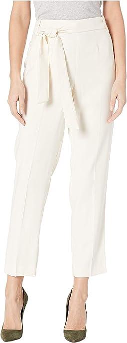 Flat Front Tie Waist Slim Pants