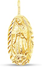 Sonia Jewels 14K Yellow Gold Diamond-Cut Religious Our Lady of Guadalupe Virgin Mary Pendant Charm (17x9 mm)