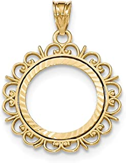 14k Yellow Gold Prong 1/10ae Bezel Necklace Pendant Charm Coin Holders/bezel American Eagle Fine Jewelry Gifts For Women For Her