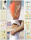 Metálico tatuajes temporales para las mujeres adolescentes Niñas - 8 hojas oro plata Tatuajes Tempor...