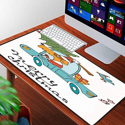 Alfombrilla Raton Grande Gaming Mouse Pad,Navidad, azul Vintage Car Dog Driving con traje de Santa Cute Bird Tree y regalo prese,Lavable, Antideslizante Diseñada para Gamers, Trabajo de Oficina