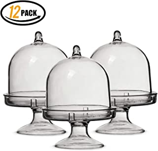 Macaroons Stand-Tiny Cake Dome with Clear Plastic for Chocolate, Rum Balls, Candies & More! 12 Pack