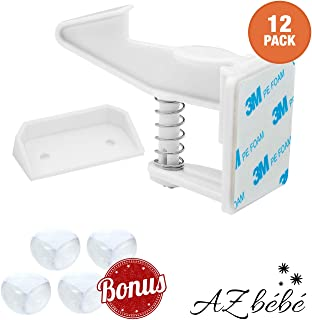 AZbébé Cabinet Locks Child Safety Latches - 12 PK Baby Proofing Cabinets Drawer Locks For Kitchen, Bathroom, Bedroom - Invisible Design, Easy to Install, No Tools  - With Corner Protectors
