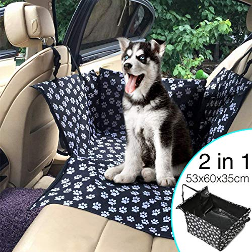 Chusstang Dog Car Seat Cover Single Waterproof Car Booster for Dogs Pet Car Supplies Pet Booster Seat for Back Seat with Safety Leash Rear Seat Protector Hammock Dog Car Carrier (White Paw Prints)