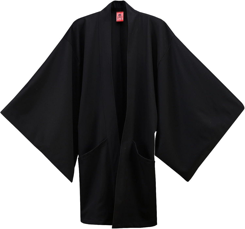 ByTheR Solid Black Oriental Modern Dark Wear Extra Wide Sleeve Cardigan Jacket