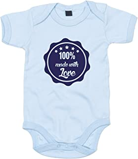 shirtdepartment Baby Body 100% Made with love Bodysuit Strampler Liebe Babymode