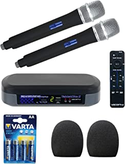 VocoPro TabletOke-II Digital Karaoke Mixer with Wireless Mics, Bluetooth Receiver, (2) WHF-158 Foam Windscreen and AA LR6 Alkaline Battery (4-Pack)