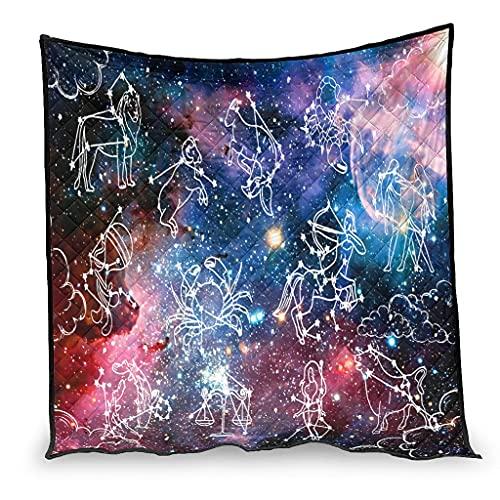 Bettdecke, Sternenkonstellation, hautfreundlich, atmungsaktiv, Decke für Sofa, Schlafzimmer, alle Jahreszeiten, Sternenhimmel, weiß, 180 x 200 cm