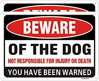 2Pack Beware of Dog Sign Dog Warning Sign 10 X 7 Inch Aluminum Alloy Rust and Fading Resistant for Indoor Outdoor