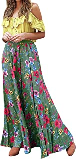 Summer Beach Party Dress Sales NRUTUP Women Bohemian Two-Piece Pleated Printed Dresses for Holiday