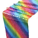 HOSL Glitter Sequin Table Overlays Table Runners 12 x 108 Inches Sparking Table Falls Table Cloths for Christmas Xmas Events Wedding Banquet Party Birthday Decoration (1, Rainbow)