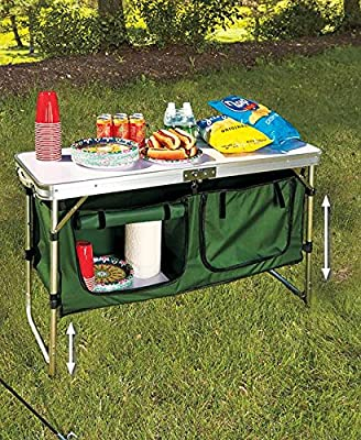 The Lakeside Collection Portable Outdoor Camping Kitchen Table with Storage