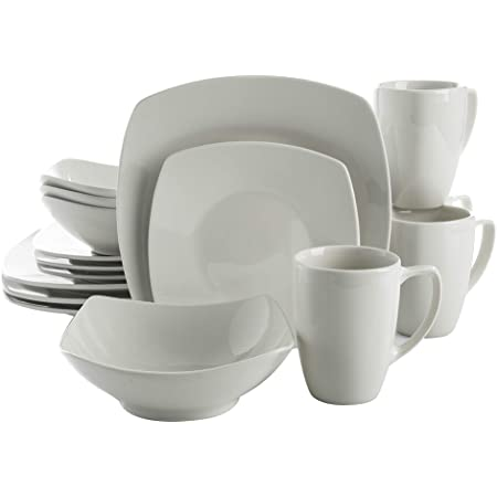 Gibson Home Zen Buffet Dinnerware Set, Service for 4 (16pcs), White (Square)
