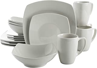 Gibson Home Zen Buffet Coupe Dinnerware Set, Service for 4 (16pcs), White (Square)
