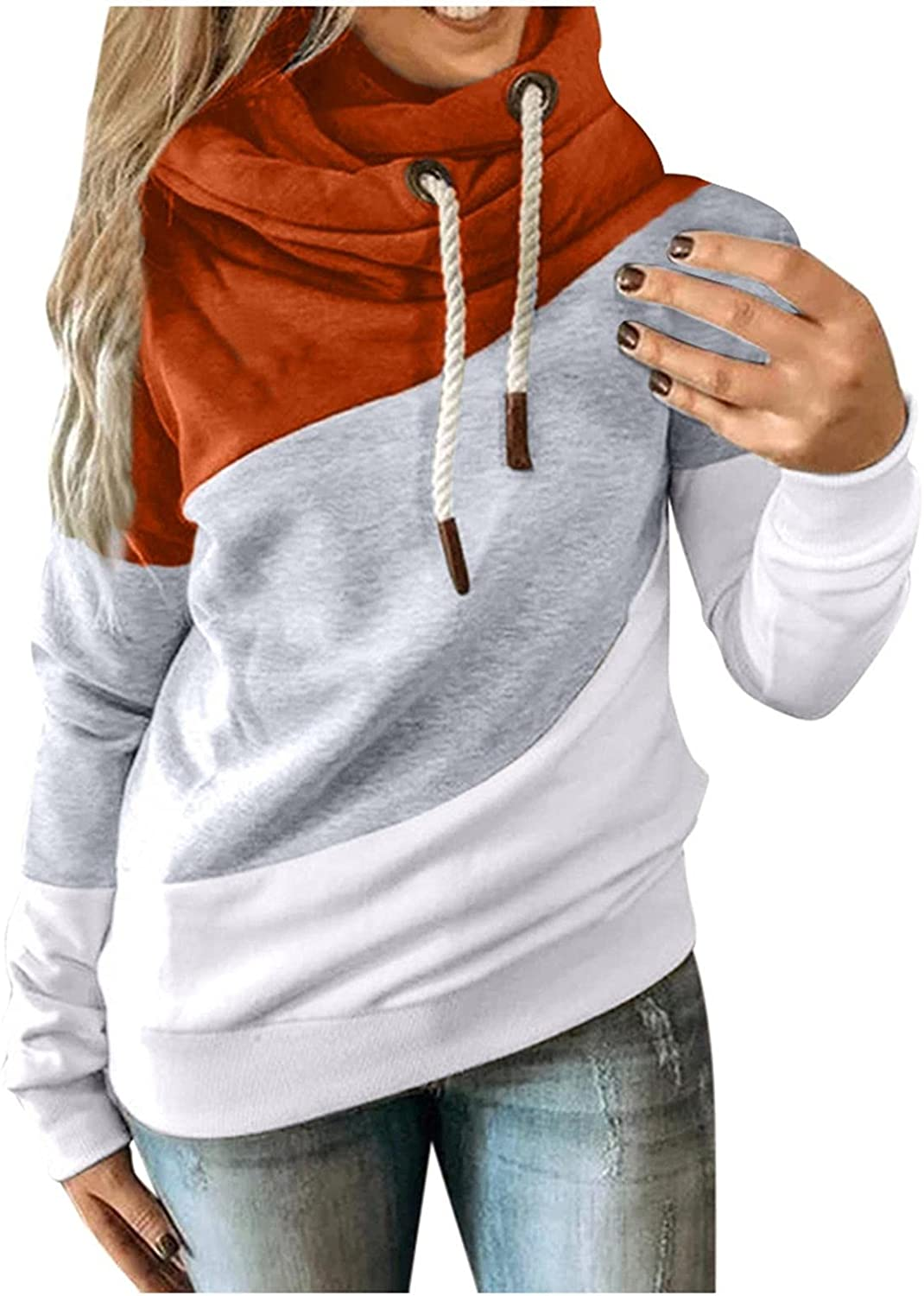 Hoodies for Women Pullover Color Block Long Sleeve Drawtsring Sweatshirts Loose Sweater Tops