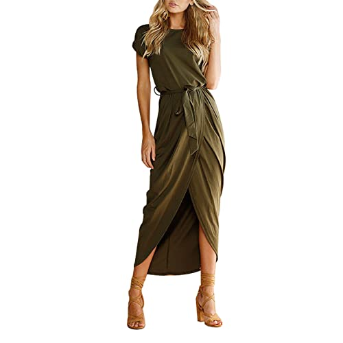 69859d1436054 Yidarton Women s Short Sleeve Midi Long Dresses Split Wrap Summer Dress