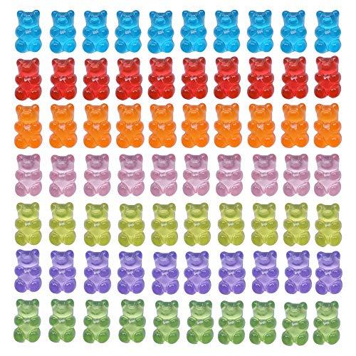 70 Pcs Candy Gummy Bear Charms Colorful Resin Bear Pendants for DIY Necklace Keychain Dollhouse Decoration