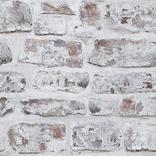 ZHAO White Washed Brick Effect Peel Und Stick Wallpaper Vinyl