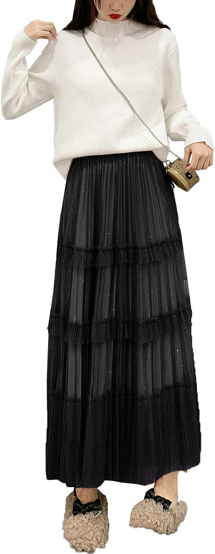 lookwoild Women Casual Midi Skirt High Waist Layered Polka Dot Mesh Skirt Pleated A-Line Swing Skirt Y2K Clubwear (Black2, One Size)