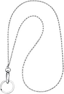 Fashion Lanyard, Wisdompro Women 19 inch Fashion Lanyard Necklace with Swivel Oval Clasp and Key Ring for ID Card Holders and Keys - Stud Chain