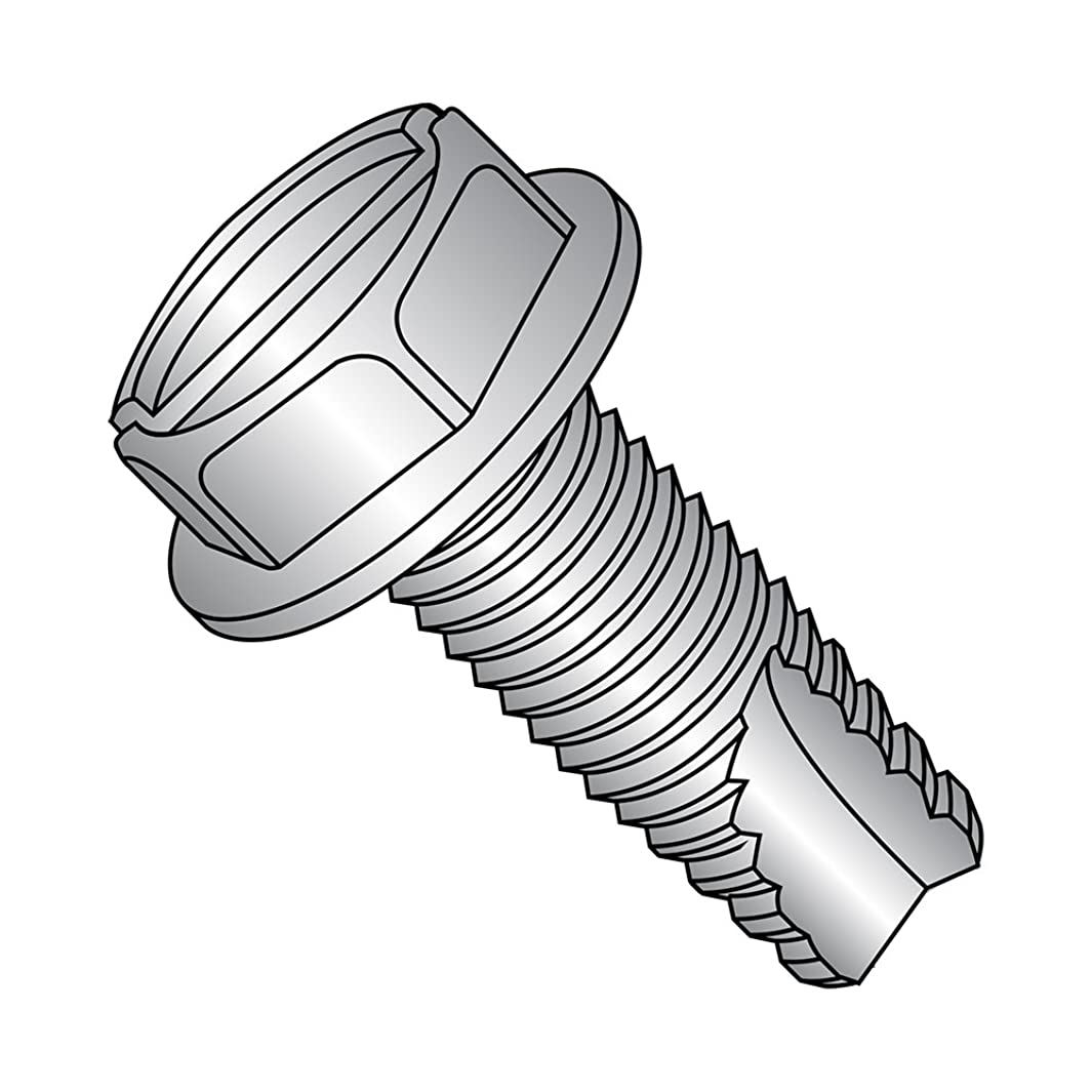 18-8 Stainless Steel Thread Cutting Screw, Plain Finish, Hex Washer Head, Slotted Drive, Type 23, #6-32 Thread Size, 5/16