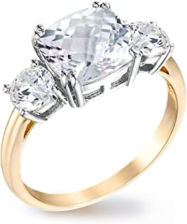 Samie Collection Royal Engagement Rings for Women Inspired by Princess Meghan Markle's Wedding: 3.67ctw Cushion Cut Cubic Zirconia in 18K Yellow Gold Plating, Size 5 to 10