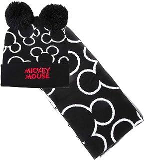 DISNEY Unisex Mickey Mouse Bobble Beanie & Scarf Gift muts, sjaal & handschoenenset, zwart (Black Black), One Size