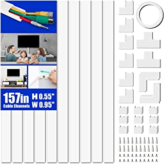 "Cord Cover Raceway Kit, 157"" Cable Cover Channel, Paintable Cord Concealer System Cable Hider, Cord Wires, Hiding Wall Mount TV Powers Cords in Home Office, 10X L15.7in X W0.95in X 0.55in"