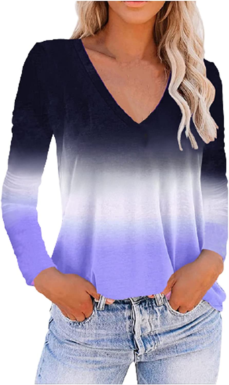 Women V Neck Flame Tie Dye Long Sleeve Tshirt Tops Trendy Solid Color Loose Fit Blouses Plus Size Workout Tunic Tees