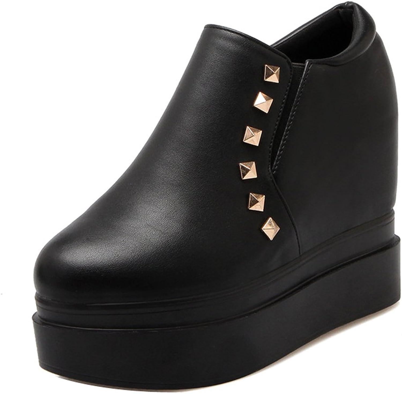 Ladola Womens Platform Round-Toe Waterproof Grommets Urethane Boots