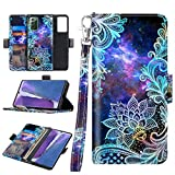 Casetego for Galaxy Note 20 Case,Detachable Magnetic Wallet Case PU Leather Full Body Protective Case with Credit Card Holders, Wrist Strap for Samsung Galaxy Note 20,Blue Mandala