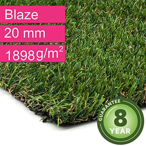 Kunstrasen Rasenteppich Blaze für Garten - Florhöhe 20 mm - Gewicht ca. 1898 g/m² - UV-Garantie 8 Jahre (DIN 53387) - 4,00 m x 4,50 m | Rollrasen | Kunststoffrasen