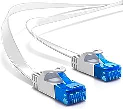 deleyCON 20m CAT6 Cable de Red Plano Cable de Cinta de 1,5mm U-UTP RJ45 - Cable de Conexión UUTP para DSL LAN Conmutador de Módem Panel de Conexión de Repetidor - Blanco
