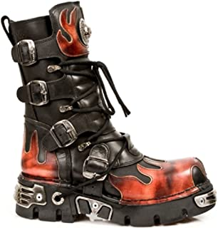 New Rock Newrock 591-S1 Red Flame Metal Black Leather Heavy Punk Gothic Boots