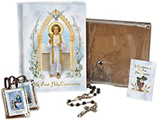 Jesus Pure and Holy First Communion Wallet Set with Mass Book, Scapular, Rosary, and Lapel Pin (Black (Boy))