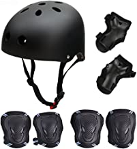 SymbolLife Skateboard/Skate Protection Pads Set with Helmet Helmet with 6pcs Elbow Knee Wrist Pads for Kids Youths BMX/Scooter/Cycling/Roller for Head Size S(48-52cm), M(52-57cm), L(57-62cm)