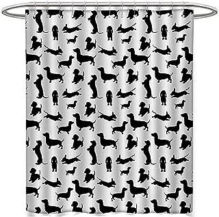 "Monochrome Dachshunds Dog Lover シャワーカーテンコレクション バラエティスタンス アクティブライフ ペット 犬 抽象画 サテン 生地セット バスルーム 幅36インチ x 長さ72インチ ブラック ホワイト W72"" x L84"""