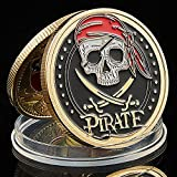 Strugglejewelry Skull Pirate Ship Gold Treasure Coin Lion of The Sea Running Wild Challenge Coin
