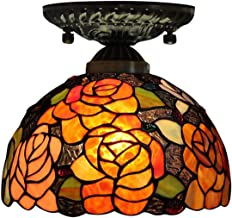 20cm Tiffany Style Ceiling Light,Stained Glass Rose Shade Flush Mount Ceiling Lamp,European Vintage Ceiling Lighting Fixtu...
