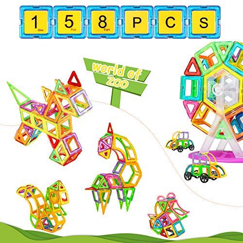 Blusmart Magnetschlösser, 158-teilig pädagogisches STEM-Bausteine, einschließlich Zahlenkarten, Alphabet-Karten, Obstkarten, Riesenrädern und Tragetasche für Kinder ab 3 Jahren