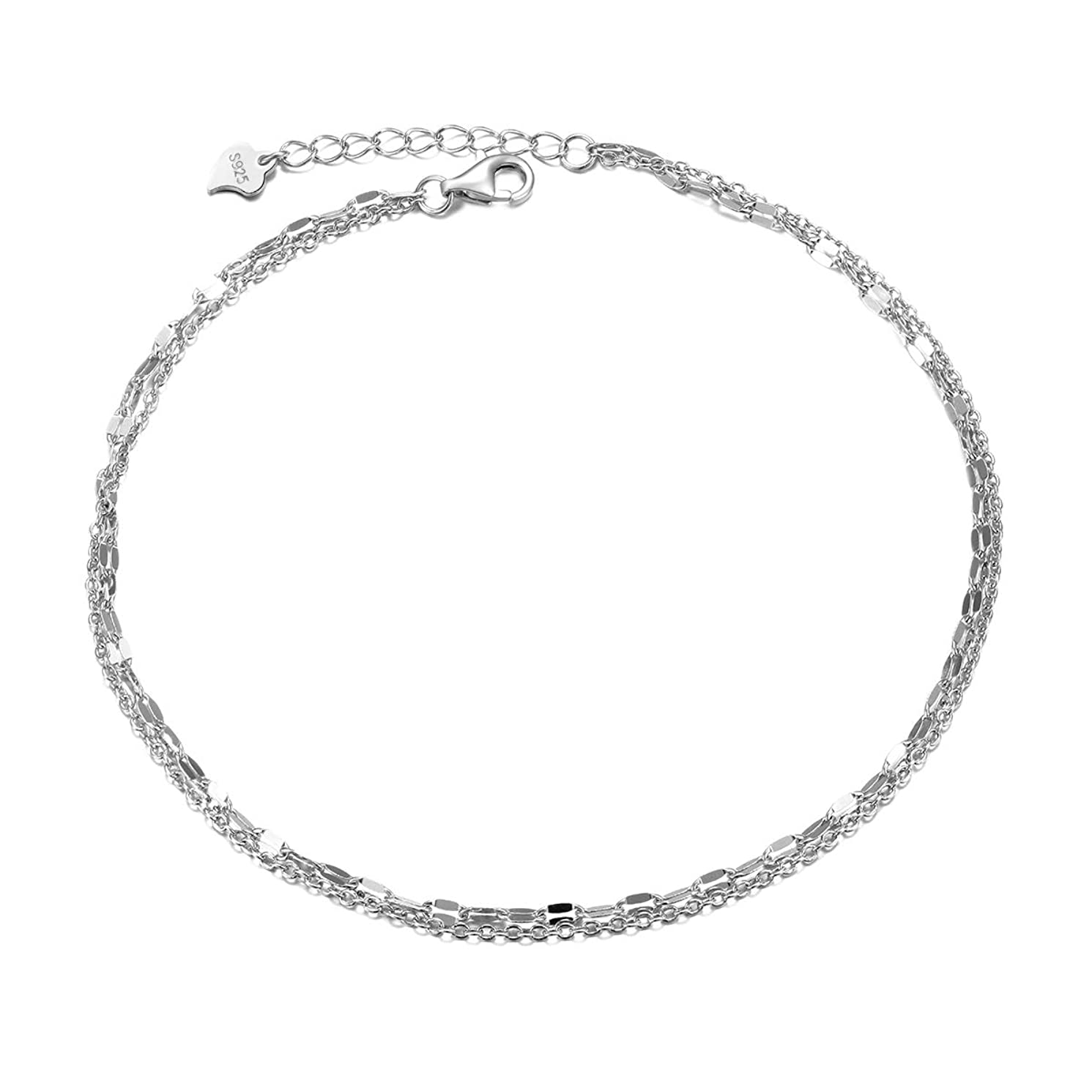 Women's Anklet S925 Sterling Silver Dainty Camellia Flower Simple Circle or Two Interlocking Infinity Circles Tiny Lace Layered Foot Chain Adjustable 9 to 10 inches