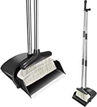 Comfortableplus Broom and Dustpan Set Self-Cleaning Broom Bristles with Dust Pan,4FT (50inch) Long Handle Combo Set for Office and Home Standing Upright Sweep no Need to Bend Over(Black)