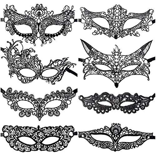 Jerbro 8 Stück Venezianische Maske Spitze Augenmaske Maskerade Gesicht für Damen Karneval Masquerade Maskenball Kostüm Party