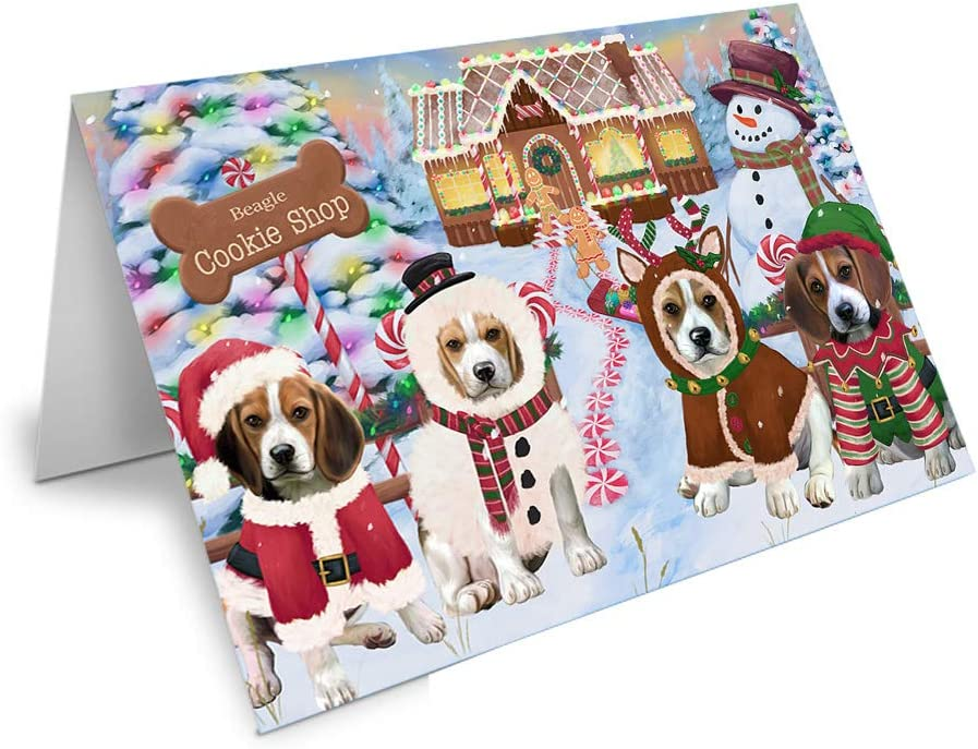 Holiday Gingerbread Cookie Shop Beagles Dog Greeting Courier shipping free shipping GCD715 Elegant Card