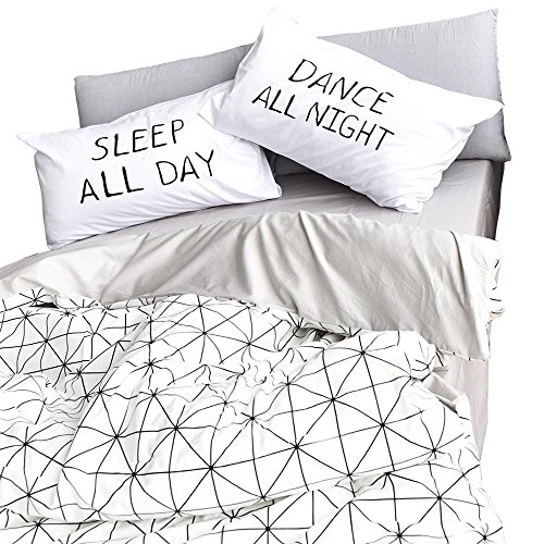 HIGHBUY Geometric Pattern Cotton Kids Duvet Cover Sets Twin Lightweight Soft Reversible Children Bedding Collections 3 Piece Bedding Sets for Teens Girls Boys Zipper Closure