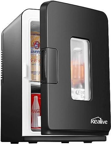 Mini Frigo de Chambre 15L, Mini Réfrigérateur Silencieux 12V/220V avec Fonction Chaud/Froid et Max/Eco, Glacière Élec...
